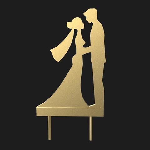 Descargar archivo 3D pastel silueta de la boda decoración romántica, MatteoMoscatelli