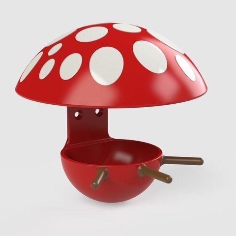 Download free 3D printer model Multicolor mushroom fat ball birdhouse feeder, Mathieu_BZH