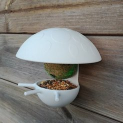 Download free 3D print files Mushroom fat ball birdhouse feeder, Mathieu_BZH