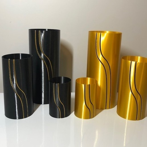 black and gold 2.jpg Download STL file Waterfall Filament Vase Collection • 3D printing object, 3DWinnipeg