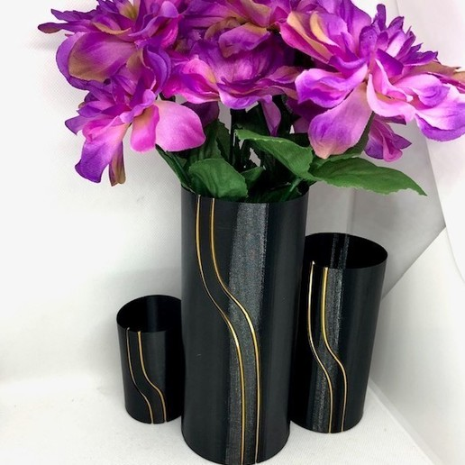black with flowers.jpg Download STL file Waterfall Filament Vase Collection • 3D printing object, 3DWinnipeg