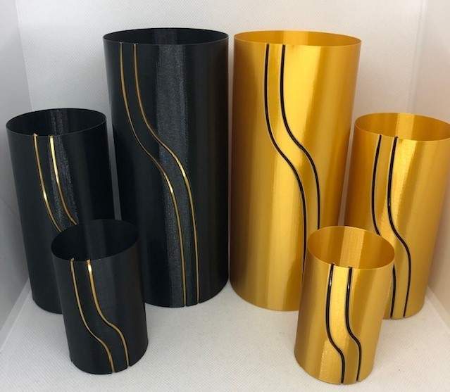 black and gold 1.jpg Download STL file Waterfall Filament Vase Collection • 3D printing object, 3DWinnipeg