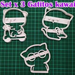 Sin título-1.jpg Télécharger fichier STL Biscuit au cutter x3 chatons Kawai • Plan pour impression 3D, MaybellineM