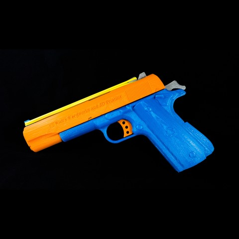 3D printer files WW3D 1911R Rubber Band Gun, Tribute