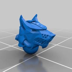 Impresiones 3D gratis Casco de cabeza de lobo de metal, jackrocco