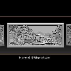 001.jpg Download STL file Mural landscape wood carving file stl OBJ and ZTL for CNC • Design to 3D print, briarena8185