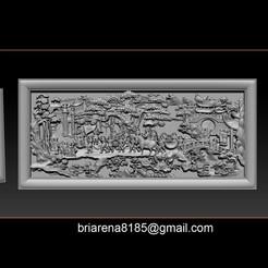 001 poster.jpg Download STL file Mural landscape wood carving file stl OBJ and ZTL for CNC • Design to 3D print, briarena8185