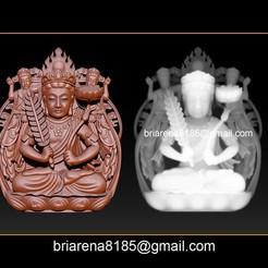 000.jpg Download STL file Pendant Guanyin Bodhisattva • Template to 3D print, briarena8185