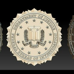 004.jpg Download STL file FBI Seal - 3D Badges • 3D printing template, briarena8185
