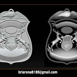 000.jpg Download STL file Police Badge Pendant - Michigan State Police • Object to 3D print, briarena8185