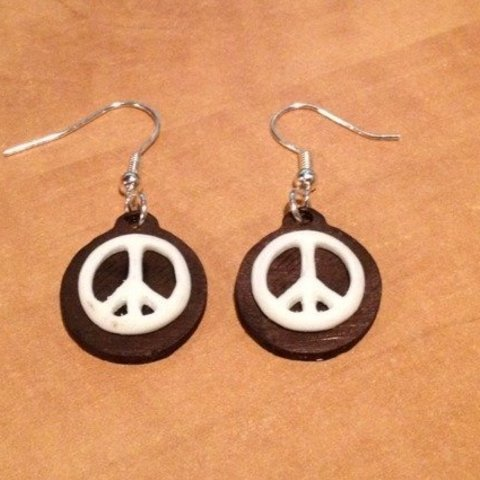 photo_display_large.jpg Download free STL file Peace Sign Earrings • 3D print template, Vishell