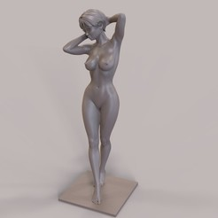 3D print files Short-Haired Nude Female Girl Standing Sexy Pose, gafeel