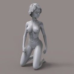 Download STL Sexy Stylized Girl Female Body Kneeling Pose, gafeel