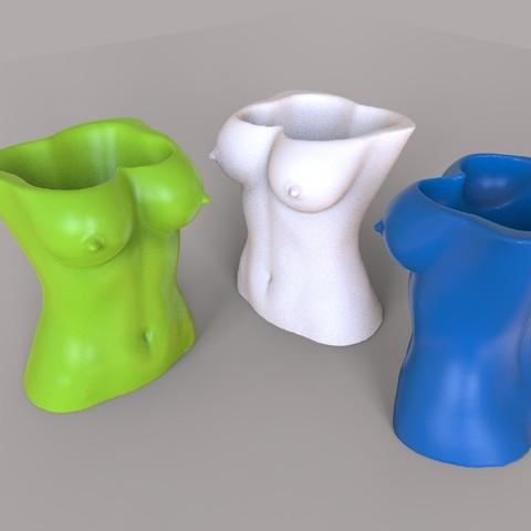 3D printing model Sexy Uncensored Girl Torso Item Pencil Holder Vase V2, gafeel