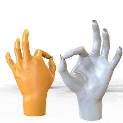 okhand.jpg Download STL file Statue of OK Hand Model 3D Print • Design to 3D print, gafeel