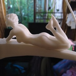 STL Sexy Nude Naked Girl Laying Down Tabletop Model 3D Print, gafeel