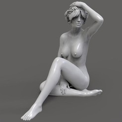 3D print files Sexy Nude Girl with Nice Ass Sitting Pose, gafeel