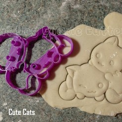 3D print model Cute Cats Cookie Cutter, FatDogCookieCutters