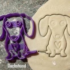 Diseños 3D Cortador de galletas para perro salchicha y salchicha, FatDogCookieCutters