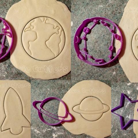 Download 3D printer designs Space Cookie Cutter Set, FatDogCookieCutters