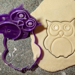 3D printer files Owl Cookie Cutter With Stamp, FatDogCookieCutters