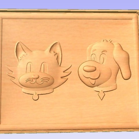 Cat-Dog.jpg Download free STL file Cat and Dog • 3D printable template, Account-Closed