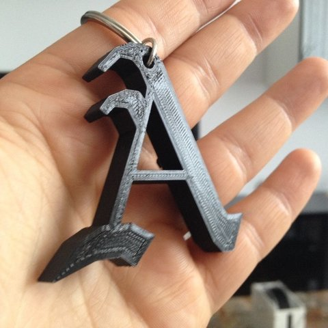 Download free 3D printing templates LeTTer A (Goth) with added keychain hole, sportguy3Dprint