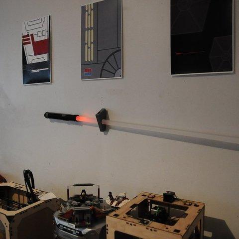 Download free 3D printing templates Lightsaber wall mount bracket, Mathorethan
