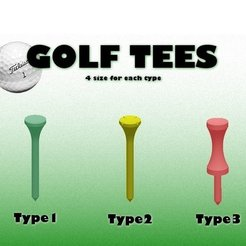 Free 3D printer model Golf Tees (3 types), ernestwallon3D