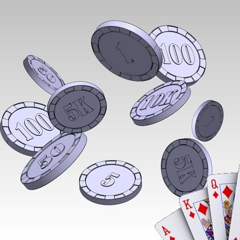 Free 3D printer designs Poker Chips - 1, 5, 10, 50, 100, 500, 1K, 5K, 10K, ernestwallon3D