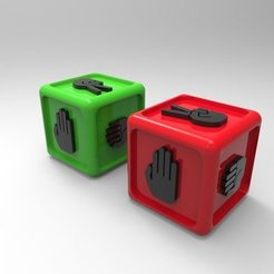 Download free STL Rock-Paper-Scissors Dice, ernestwallon3D