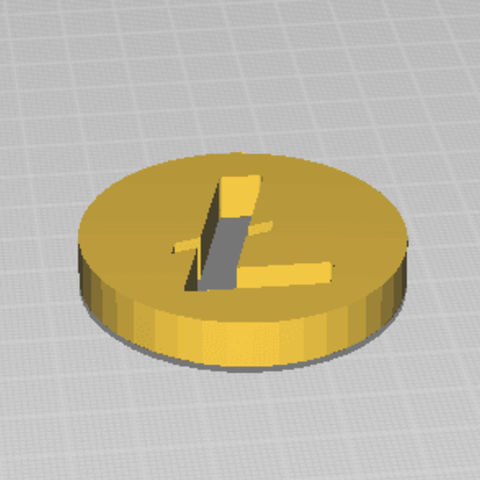 Free 3D printer designs Litecoin coin - simple, TomS6