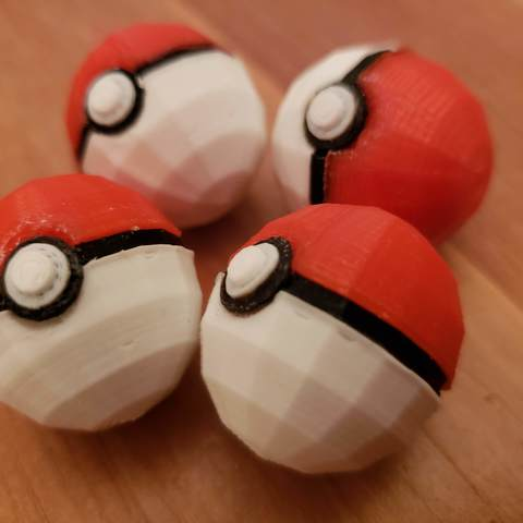 Download free 3D printer templates Low Poly Poké Ball (モンスターボール Monster Ball), utopiamachines