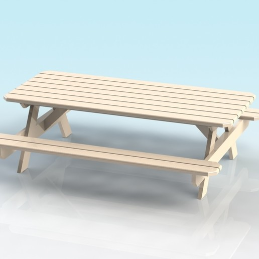 Download free 3D print files 1:32 scale picnic bench, Shane54
