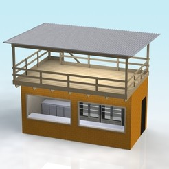 FACEBRICK BUILDING FRONT WITH ROOF.JPG Télécharger fichier STL gratuit Bâtiment en briques de parement à l'échelle 1:32 avec toit en terrasse • Design pour imprimante 3D, Shane54