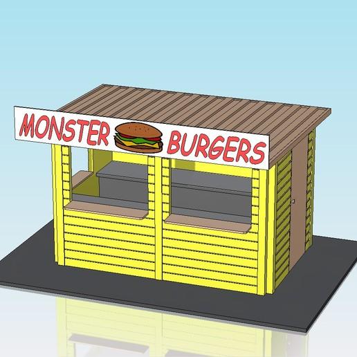 Download free 3D printer model 1:32 scale burger hut, Shane54