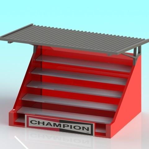 Télécharger STL gratuit 1:32 slot car Grand Stand, Shane54