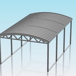 CURVED ROOF CARPORT-1.JPG Télécharger fichier STL gratuit Abri de voiture à toit courbe à l'échelle 1:32 • Design à imprimer en 3D, Shane54