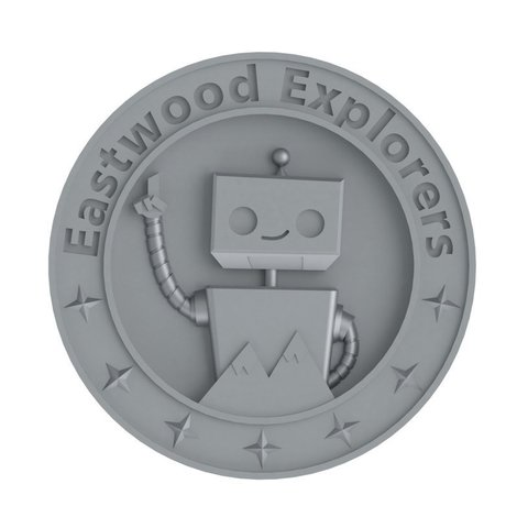 Download free STL Eastwood Explorers Robot Medallion, TikiLuke