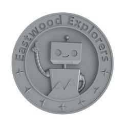 Free STL file Eastwood Explorers Robot Medallion, TikiLuke