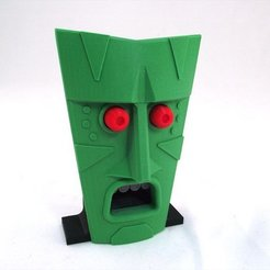 Free STL Tiki with Moving Bug Out Eyes, TikiLuke