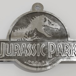 llavero jurassic park.jpg Download STL file Jurassic park logo key ring • 3D printable design, fabiofenix88