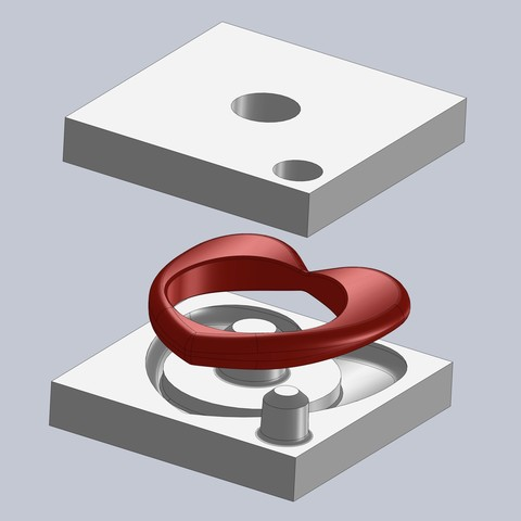 Free 3D printer files 3D printed molds (heart ring) - flexible rubber parts (Sugru), nabu3d