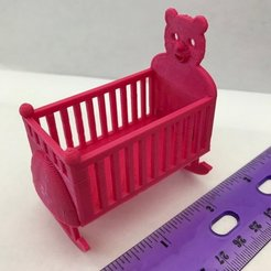 Free 3D print files Dollhouse Rocking Cradle/Crib, virtuous70