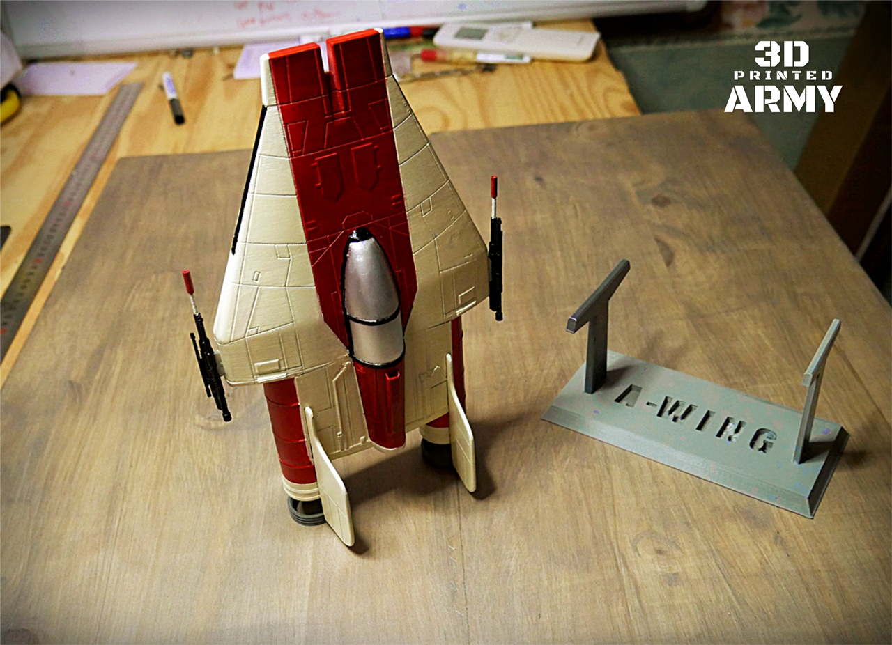 zpaint 7.png Download STL file STAR WARS   A-WING RZ-1 STARFIGHTER with BASEMENT  • Template to 3D print, 3DprintedArmy