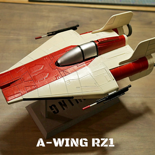 zpaint 1.png Download STL file STAR WARS   A-WING RZ-1 STARFIGHTER with BASEMENT  • Template to 3D print, 3DprintedArmy