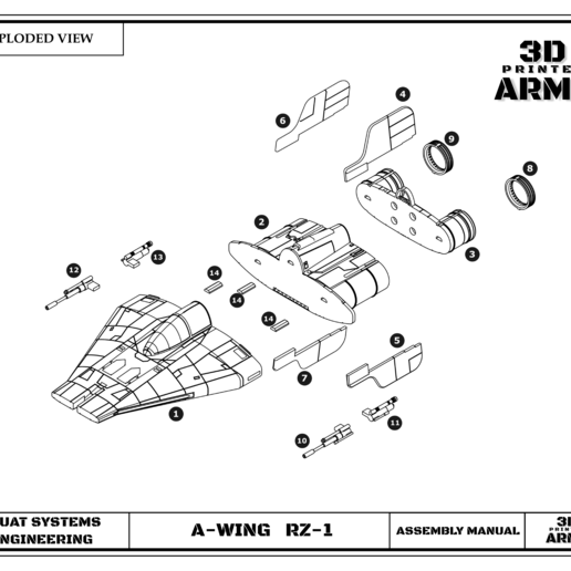 culyts 13.png Download STL file STAR WARS   A-WING RZ-1 STARFIGHTER with BASEMENT  • Template to 3D print, 3DprintedArmy