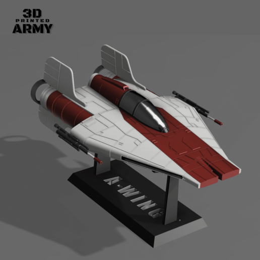 cults 1.png Download STL file STAR WARS   A-WING RZ-1 STARFIGHTER with BASEMENT  • Template to 3D print, 3DprintedArmy