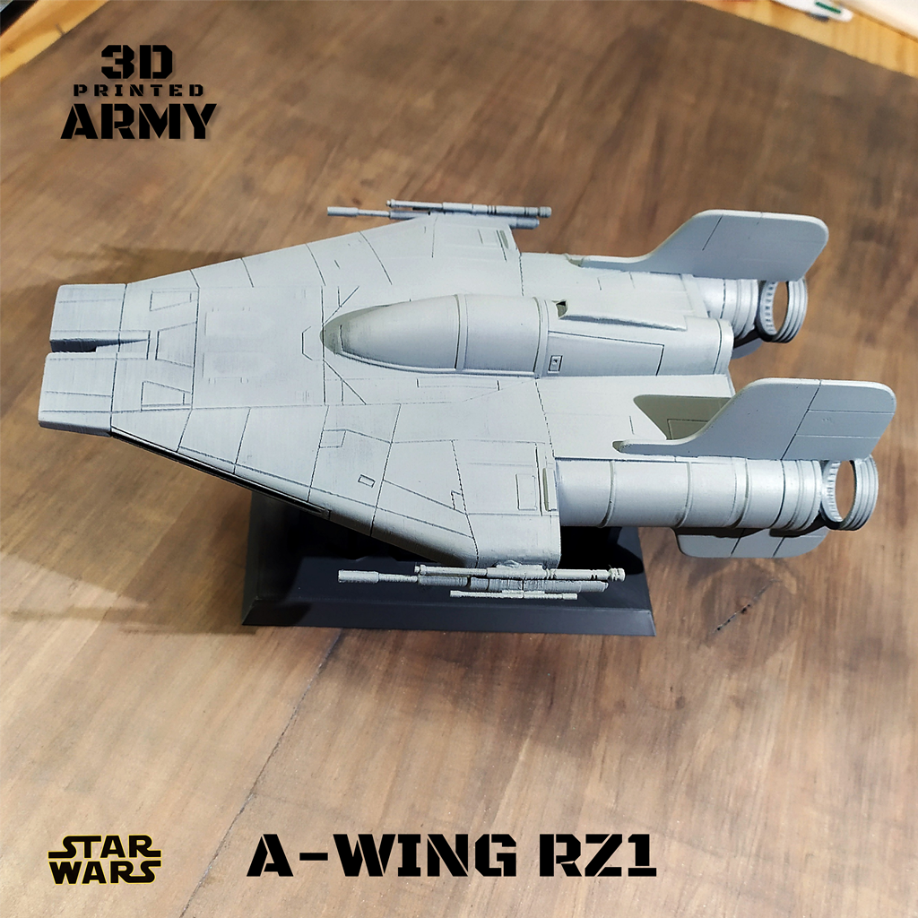 CULTS 8-1.png Download STL file STAR WARS   A-WING RZ-1 STARFIGHTER with BASEMENT  • Template to 3D print, 3DprintedArmy