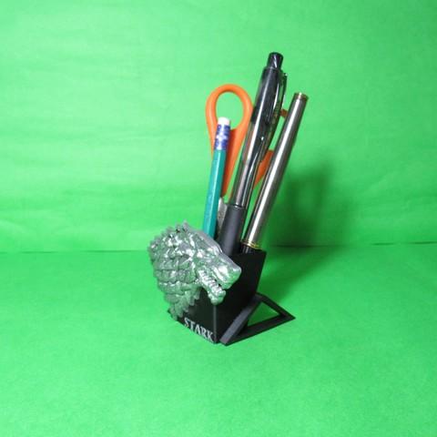 Download 3D printer designs Pen holder House Stark Game of thrones pencil holder, ponchoaem